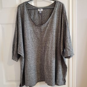 Gray and white tight knit sweater, 3x plus sized
